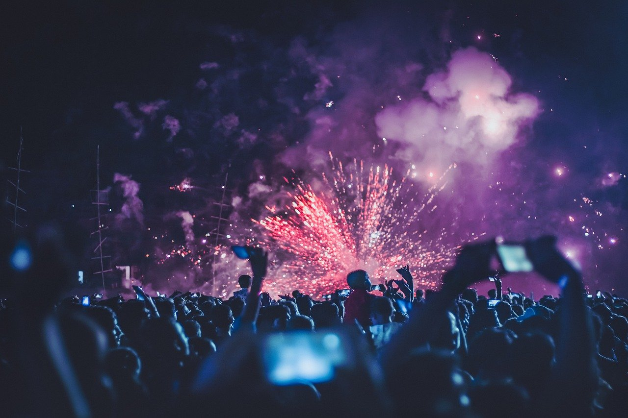 fireworks, people, festival
